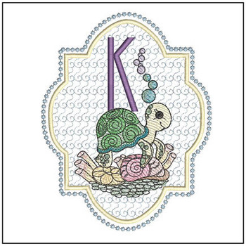 "Turtle ABC's - K - Fits in a 5x7"" Hoop - Instant Downloadable Machine Embroidery"