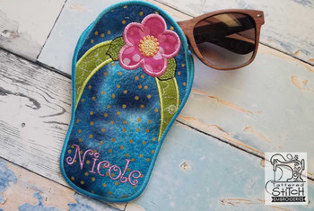"""Flip Flop GLASSES Case - Fits a 5x7"""" Hoop - Instant Downloadable Machine Embroidery"""
