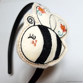 Bumble Bee Headband Slider Felty - Embroidery Designs