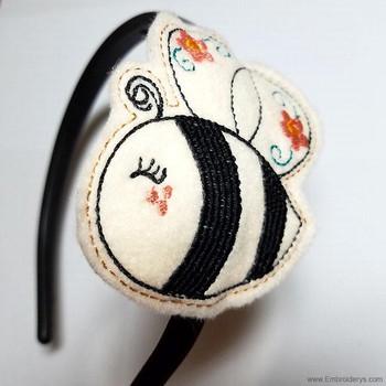 Bumble Bee Headband Slider Felty - Embroidery Designs
