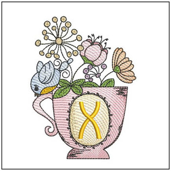 """Floral Finch Teacup X - Fits in a 5x7"""" Hoop - Instant Downloadable Machine Embroidery"""