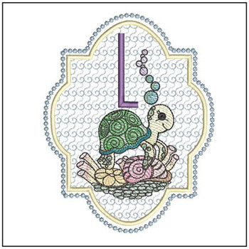 "Turtle ABC's - L - Fits in a 5x7"" Hoop - Instant Downloadable Machine Embroidery"