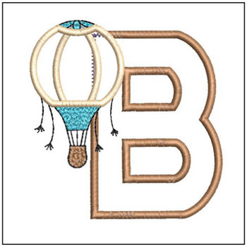 "Hot Air Balloon ABC's - B - Fits in a 4x4"" Hoop - Applique - Instant Downloadable Machine Embroidery"