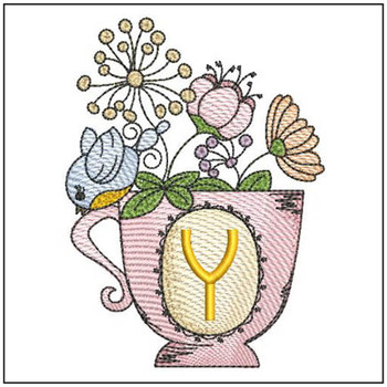 """Floral Finch Teacup Y - Fits in a 5x7"""" Hoop - Instant Downloadable Machine Embroidery"""
