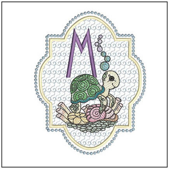 "Turtle ABC's - M - Fits in a 5x7"" Hoop - Instant Downloadable Machine Embroidery"