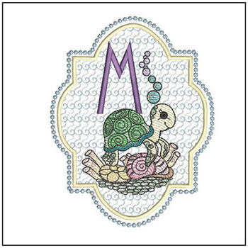 Turtle On Shells ABCs - M - Embroidery Designs