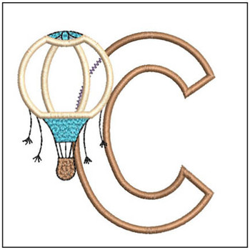 "Hot Air Balloon ABC's - C - Fits in a 4x4"" Hoop - Applique - Instant Downloadable Machine Embroidery"