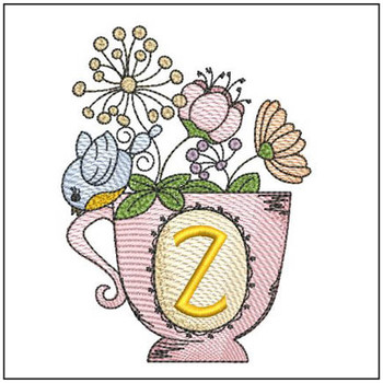 """Floral Finch Teacup Z - Fits in a 5x7"""" Hoop - Instant Downloadable Machine Embroidery"""