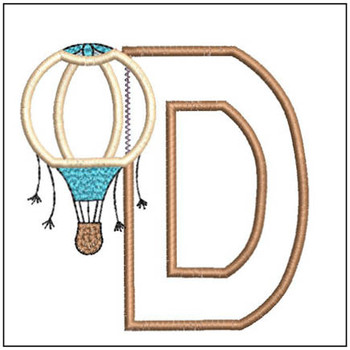 "Hot Air Balloon ABC's - D - Fits in a 4x4"" Hoop - Applique - Instant Downloadable Machine Embroidery"