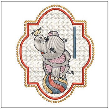 "Circus Ellie ABC's - I - Fits in a 5x7"" Hoop - Instant Downloadable Machine Embroidery"