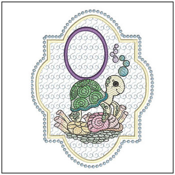 Turtle On Shells ABCs - O - Embroidery Designs