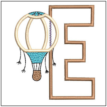 "Hot Air Balloon ABC's -E - Fits in a 4x4"" Hoop - Applique - Instant Downloadable Machine Embroidery"
