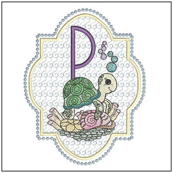 "Turtle ABC's - P - Fits in a 5x7"" Hoop - Instant Downloadable Machine Embroidery"