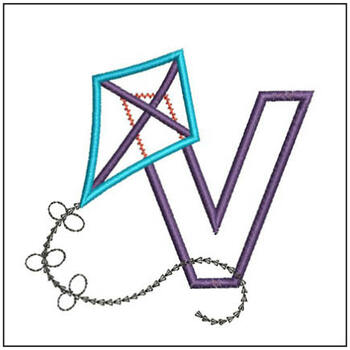 Flying High Kite Applique Font - V -Embroidery Designs
