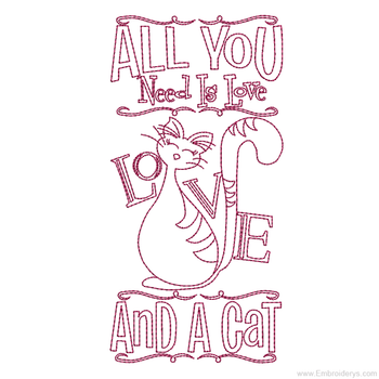 Adorable Love Cat Redwork - Embroidery Designs