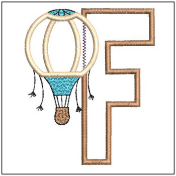 "Hot Air Balloon ABC's - F - Fits in a 4x4"" Hoop - Applique - Instant Downloadable Machine Embroidery"