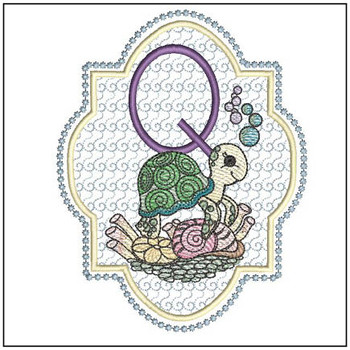 "Turtle ABC's - Q - Fits in a 5x7"" Hoop - Instant Downloadable Machine Embroidery"