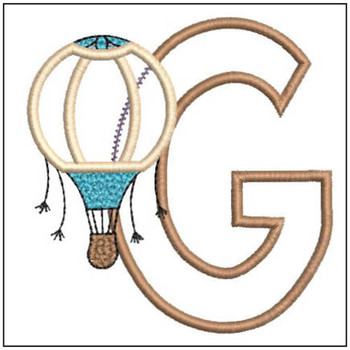 "Hot Air Balloon ABC's - G - Fits in a 4x4"" Hoop - Applique - Instant Downloadable Machine Embroidery"