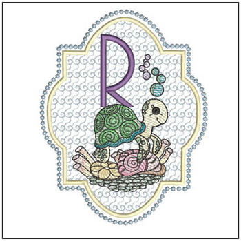 Turtle On Shells ABCs - R - Embroidery Designs