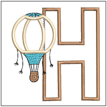 "Hot Air Balloon ABC's - H - Fits in a 4x4"" Hoop - Applique - Instant Downloadable Machine Embroidery"