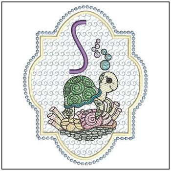 Turtle On Shells ABCs - S - Embroidery Designs