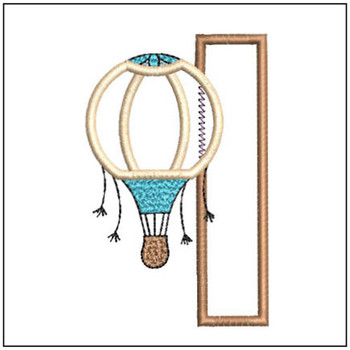 "Hot Air Balloon ABC's - I - Fits in a 4x4"" Hoop - Applique - Instant Downloadable Machine Embroidery"