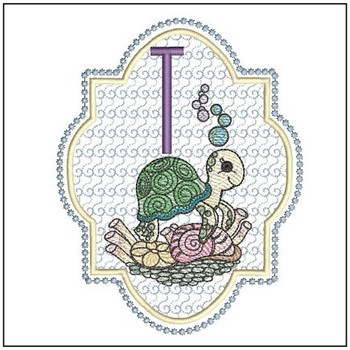 Turtle On Shells ABCs - T - Embroidery Designs