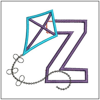 Flying High Kite Applique Font - Z -Embroidery Designs