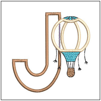"Hot Air Balloon ABC's - J - Fits in a 4x4"" Hoop - Applique - Instant Downloadable Machine Embroidery"