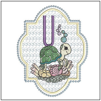 "Turtle ABC's - U - Fits in a 5x7"" Hoop - Instant Downloadable Machine Embroidery"