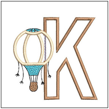 "Hot Air Balloon ABC's - K - Fits in a 4x4"" Hoop - Applique - Instant Downloadable Machine Embroidery"
