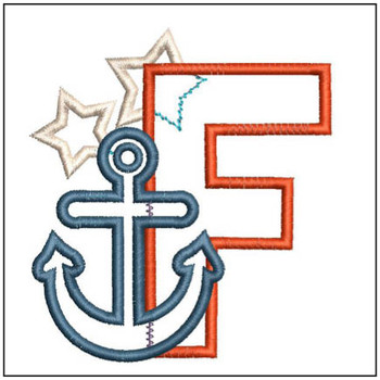 "Anchor Applique ABC's - F - Fits in a 4x4"" Hoop - Applique - Instant Downloadable Machine Embroidery"
