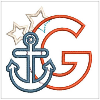 "Anchor Applique ABC's - G - Fits in a 4x4"" Hoop - Applique - Instant Downloadable Machine Embroidery"