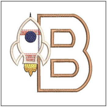 "Rocket Applique ABC's - B - Fits in a 4x4"" Hoop - Applique - Instant Downloadable Machine Embroidery"