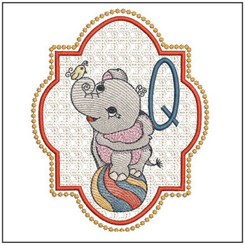 "Circus Ellie ABC's - Q - Fits in a 5x7"" Hoop - Instant Downloadable Machine Embroidery"