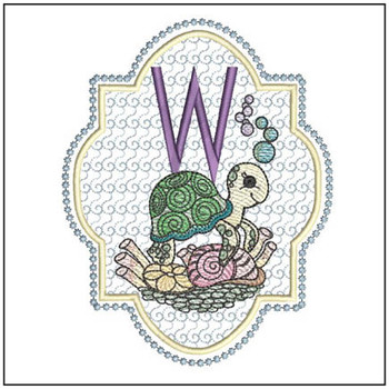 "Turtle ABC's - W - Fits in a 5x7"" Hoop - Instant Downloadable Machine Embroidery"
