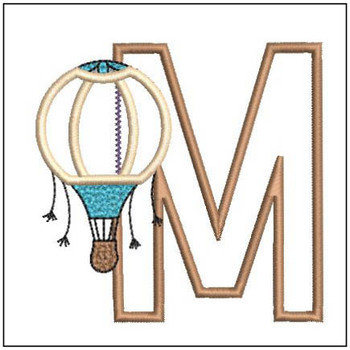 "Hot Air Balloon ABC's - M - Fits in a 4x4"" Hoop - Applique - Instant Downloadable Machine Embroidery"