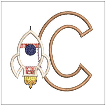"Rocket Applique ABC's - C - Fits in a 4x4"" Hoop - Applique - Instant Downloadable Machine Embroidery"