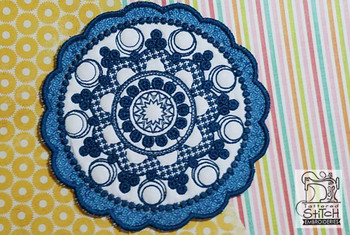 Floral Button Coaster - 6 - Embroidery Design