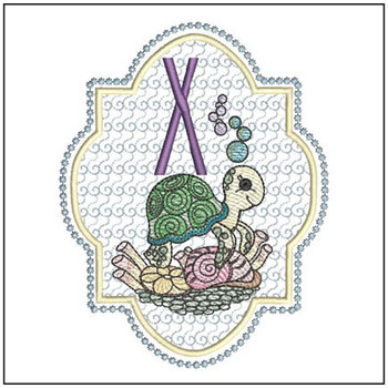"Turtle ABC's - X - Fits in a 5x7"" Hoop - Instant Downloadable Machine Embroidery"