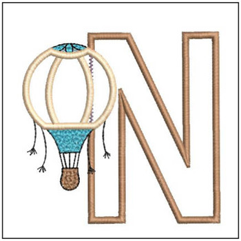 "Hot Air Balloon ABC's - N - Fits in a 4x4"" Hoop - Applique - Instant Downloadable Machine Embroidery"