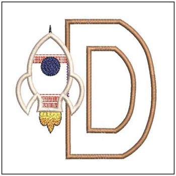 "Rocket Applique ABC's - D - Fits in a 4x4"" Hoop - Applique - Instant Downloadable Machine Embroidery"