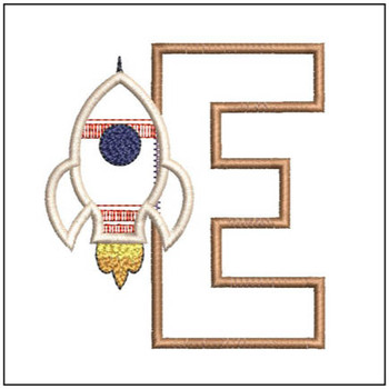 "Rocket Applique ABC's - E - Fits in a 4x4"" Hoop - Applique - Instant Downloadable Machine Embroidery"