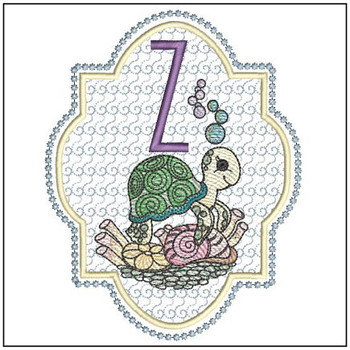 "Turtle ABC's - Z - Fits in a 5x7"" Hoop - Instant Downloadable Machine Embroidery"