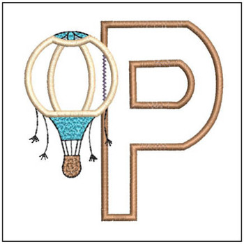 "Hot Air Balloon ABC's - P - Fits in a 4x4"" Hoop - Applique - Instant Downloadable Machine Embroidery"