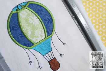 "Hot Air Balloon Applique - Fits in a 4x4 & 5x7"" Hoop - Applique - Instant Downloadable Machine Embroidery"