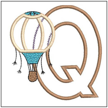 "Hot Air Balloon ABC's - Q - Fits in a 4x4"" Hoop - Applique - Instant Downloadable Machine Embroidery"