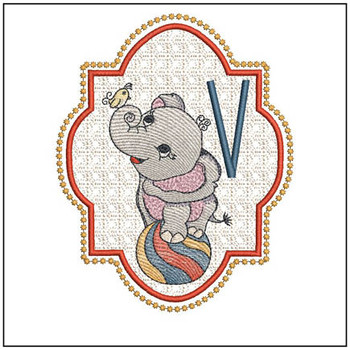 Circus Ellie ABC's - V - Embroidery Design