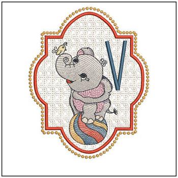 Circus Ellie ABC's - V - Embroidery Design