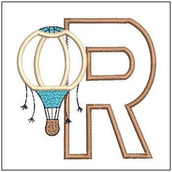 "Hot Air Balloon ABC's - R - Fits in a 4x4"" Hoop - Applique - Instant Downloadable Machine Embroidery"